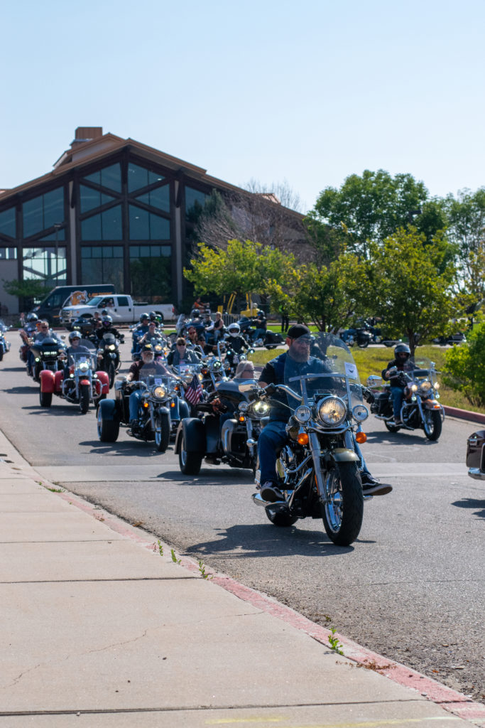 Forever Family Ride Riders take off from starting location at Thunder Mountain Harley-Davidson.